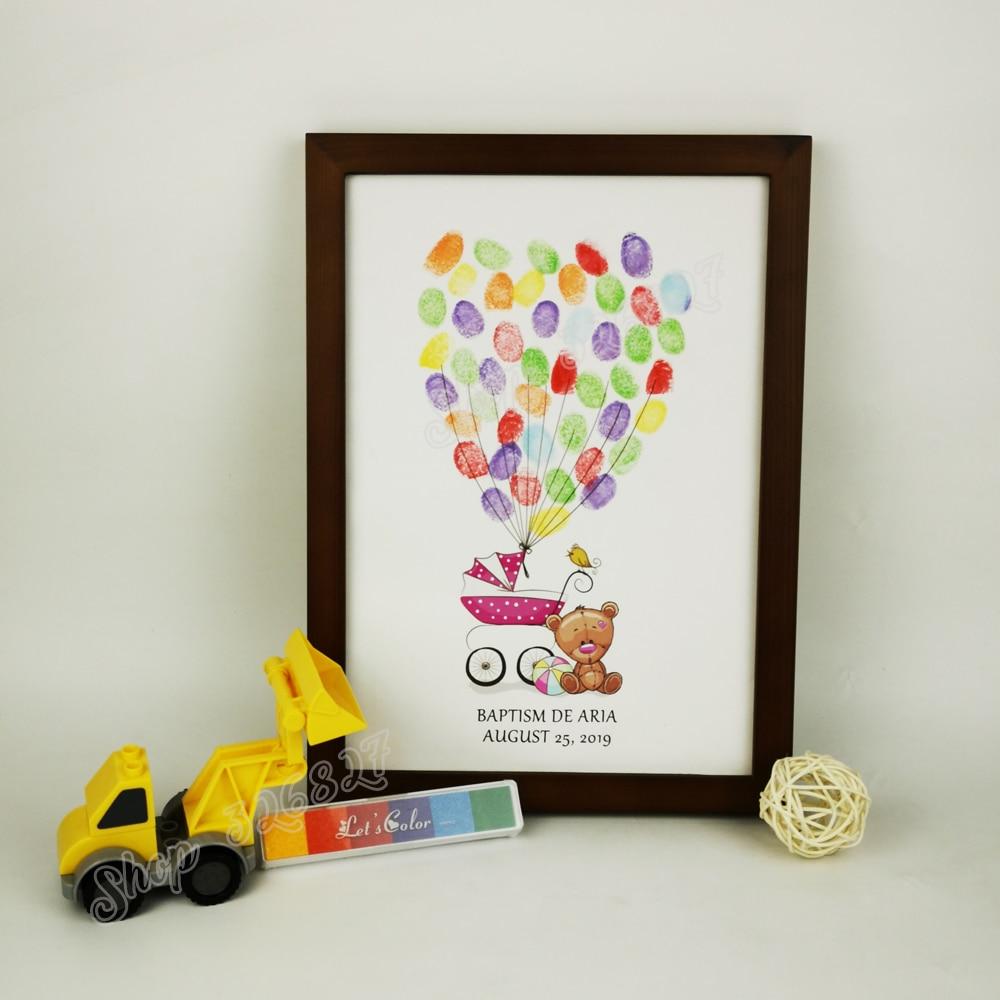 Impresión en lienzo de cochecito de bebé, libro de huellas dactilares DIY, libro de invitados para Baby Shower, regalo de cumpleaños para niños, decoración de fiesta sin marco
