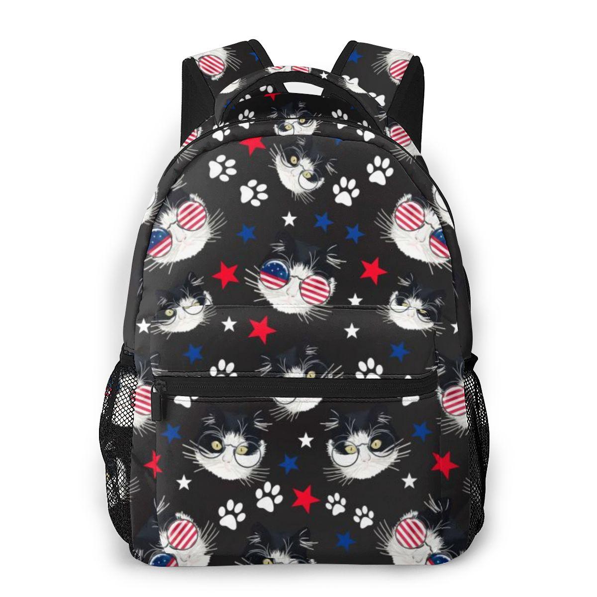 Mochila para mujer, mochila escolar para chicas adolescentes, Gato Hipster con bandera americana, gafas de sol para mujer, mochila para ordenador portátil, mochila de viaje 2020