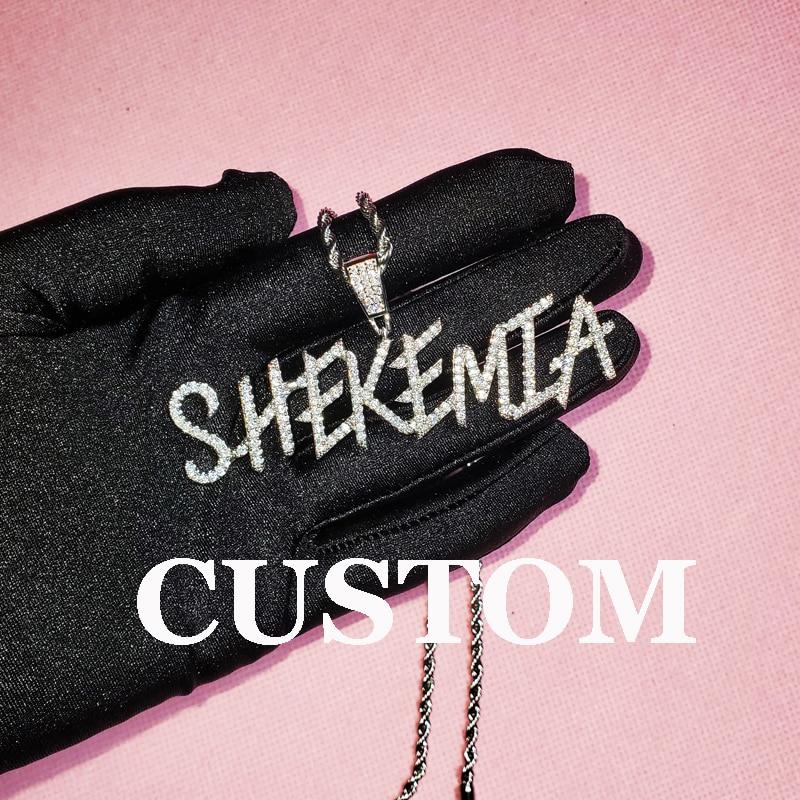 Ожерелье с кубическим цирконием и надписью на заказ, мужское Ювелирное Украшение с ледяной багеттой, с надписью на заказ