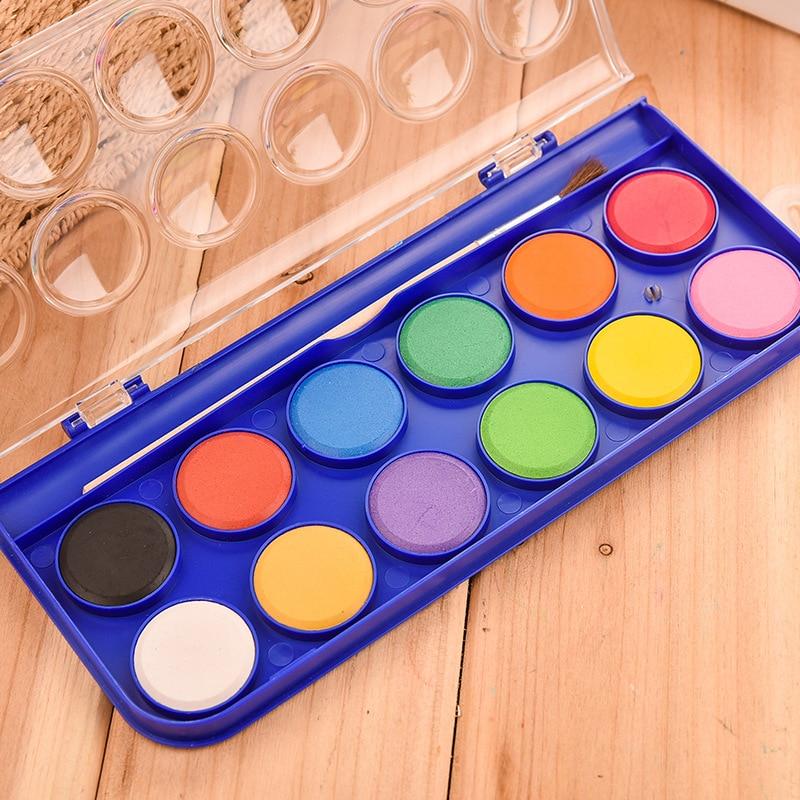 12/16/28/36 colores en polvo juego de pintura de acuarela sólida pigmento de pintura de acuarela para dibujar con pintura cepillo de arte suministros