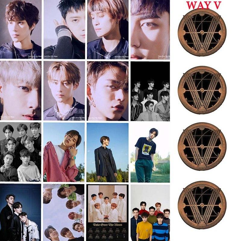 Kpop WAYV tomar sobre la Luna Photocard Sticker nuevo álbum Crystal Card Sticker Ten Winwin foto Stikcy tarjeta 16 unids/set
