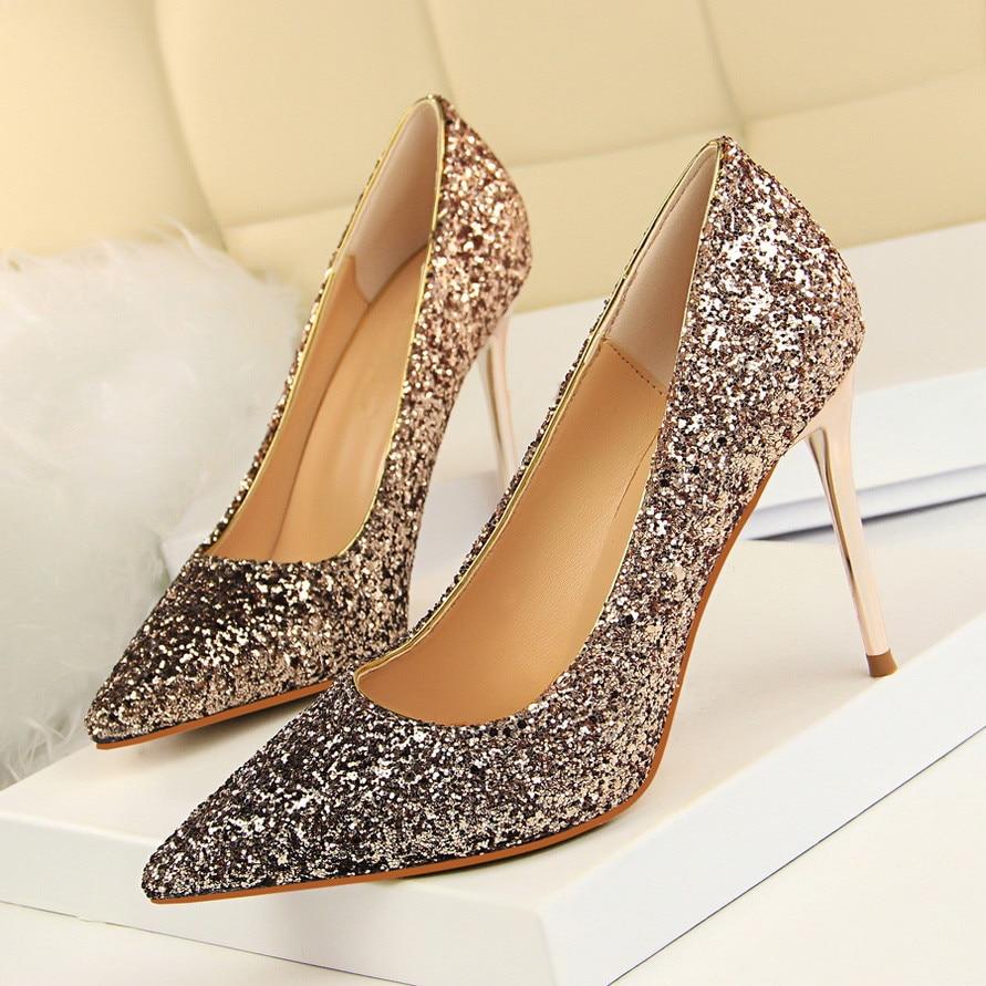 Zapatos de tacón alto a la moda para mujer, zapatos de vestir para fiesta de boda con punta en punta, zapatos de tela con lentejuelas, tacones finos, ropa Sexy para mujer, zapatos DS-A0122
