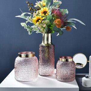 Retro Modern Flower Vase Luxury Gold Rom Glass Vases Hydroponics Living Room Decoration Ornament Dry Flower Arrangement Artware