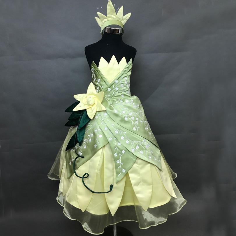 أطفال الكرتون الضفدع تأثيري حلي الأميرة تيانا فستان مع أغطية الرأس هالوين عيد ميلاد الكرة فستان سهرة للأطفال