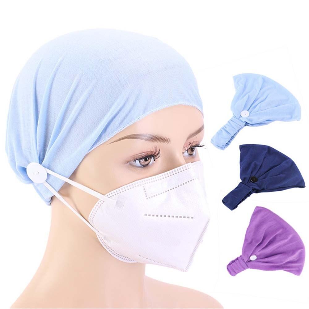 Creative נשים כפתור סרט פנים מסכות מחזיק לובש מסכה כדי להגן על האוזניים שלך עם סרט רחב סרט עניבה צביעה סגנון