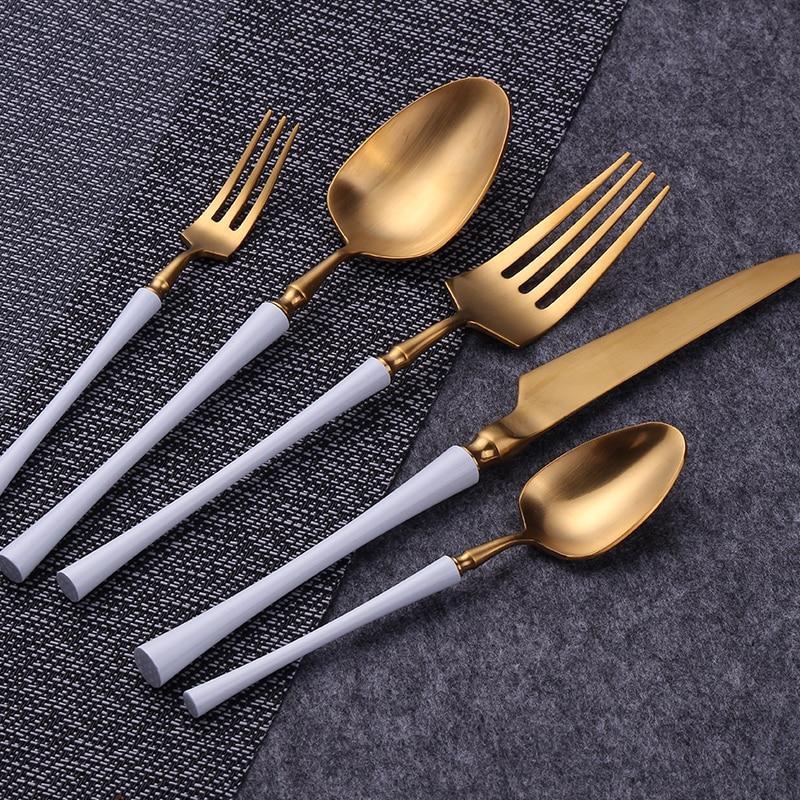 الفولاذ المقاوم للصدأ مجموعة أدوات المائدة سكينة عشاء شوكة ملعقة طقم ملاعق غسالة صحون آمنة أدوات المائدة للمطاعم السكاكين دروبشيبينغ