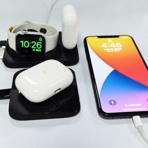 Беспроводное зарядное устройство для IPhone12 Mini Pro Max 11 XS XR X 8 IWatch 4 в 1, 15 Вт