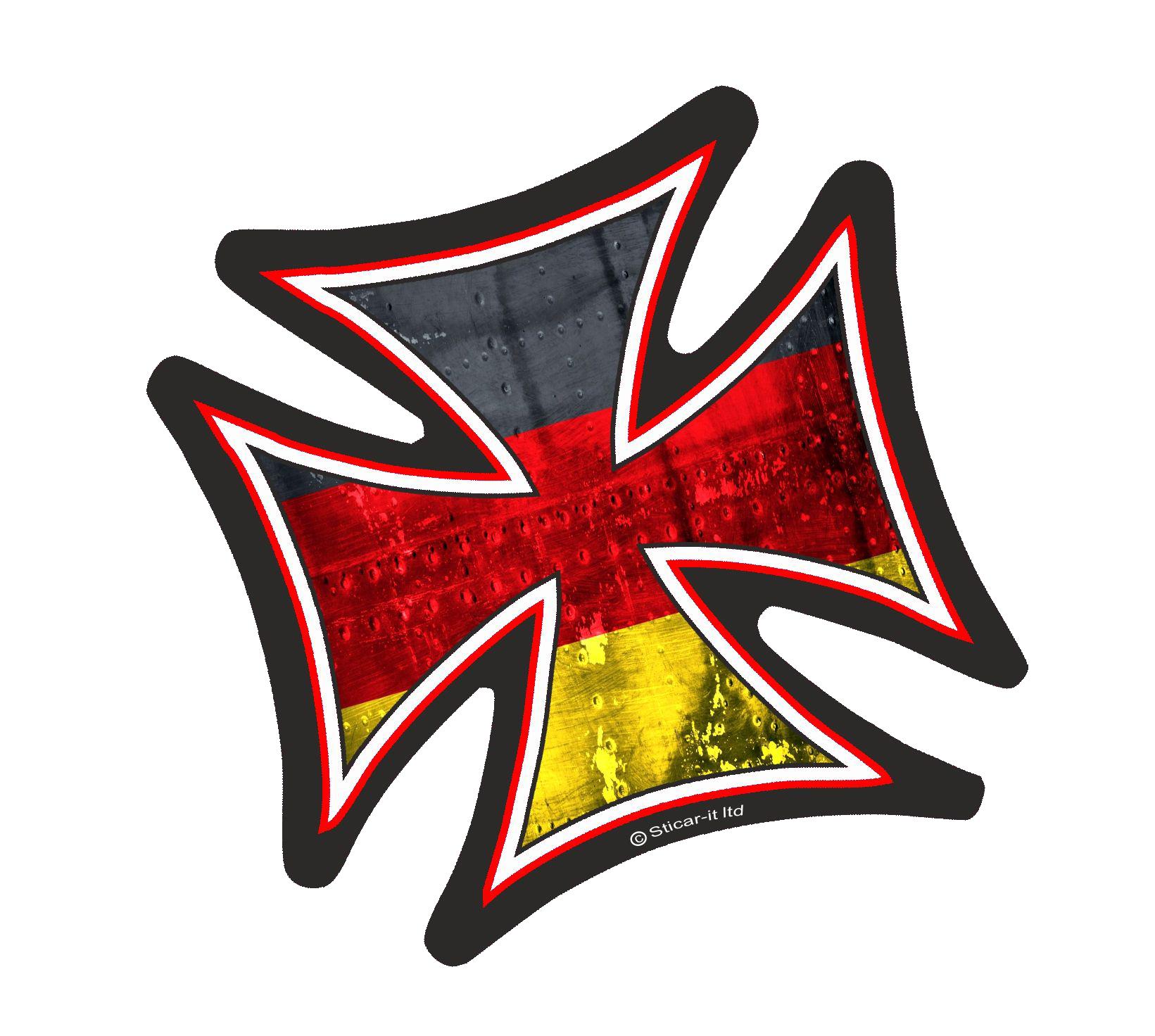 Three Ratels FTC-1112 cruz de hierro con Alemania alemán motivo bandera exterior vinilo coche etiqueta engomada de la motocicleta del coche de la bicicleta