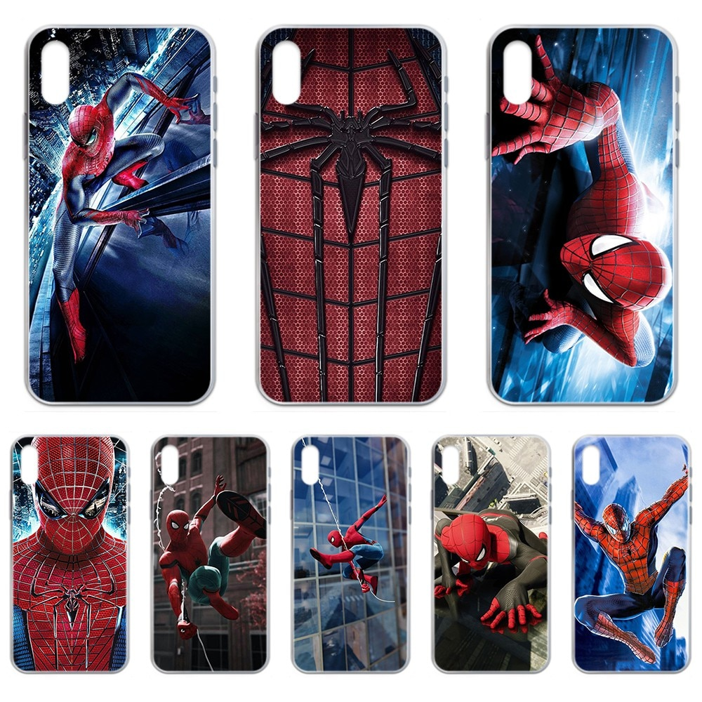 Marvel Spiderman pintura coque transparente cubierta de la caja del teléfono para iphone 4 4S 5 5C 5S 6 6S PLUS 7 8 X XR XS 11 PRO SE 2020 MAX