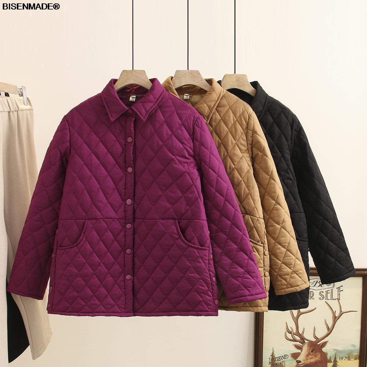Autumn Winter Parka Women Clothes Plus Size&Curve 2021 New Padded Coat Argyle Warm Outerwear Fashion Casual Loose Jacket