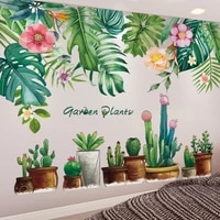 shijuehezi tree leaves wall stickers diy potted plant wall decals for house living room bedroom nursery kitchen decoration