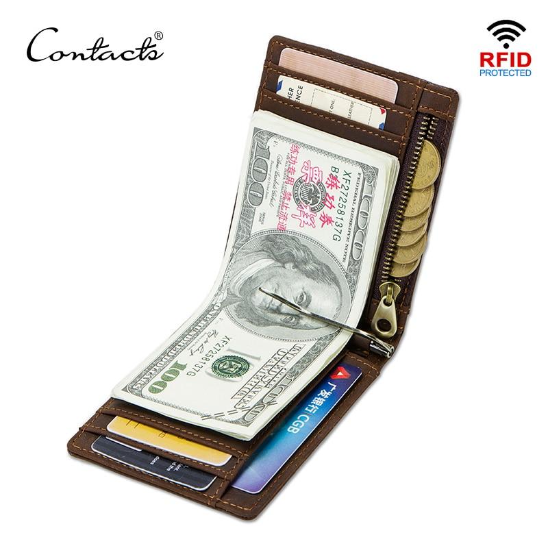 Contacts Crazy Horse Mannen Rfid Echt Leer Geld Clip Card Portemonnee Dunne Bifold Cash Clamp Casual Cash Houder Man Coin portemonnee