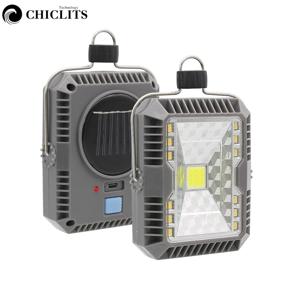 Linterna portátil de exterior potente luz Solar COB LED 3 modos USB recargable lámpara colgante de noche para senderismo Camping carpa pesca