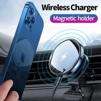 15w qi magnetic car phone holder air vent mount mobile cell stand gps support for iphone%c2%a012 pro fast wireless charger car holder