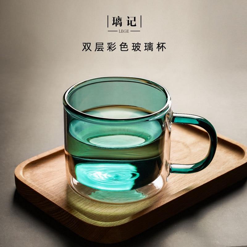 Tazas de vidrio de colores para el hogar, doble taza de café...