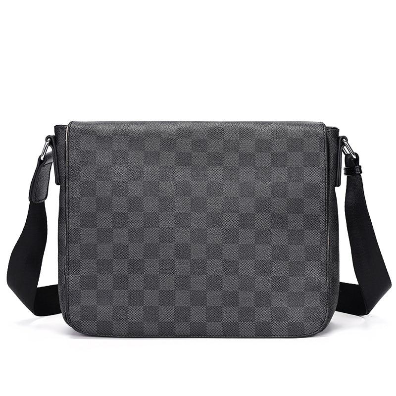 Brand Plaid Design Men Messenger Bag Large Capacity Travel Crossbody Shoulder Bags For Man Side Slin