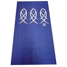Japonais Noren porte rideau ancien caractère poisson tapisserie pour la décoration de la maison bleu 33X59Inch