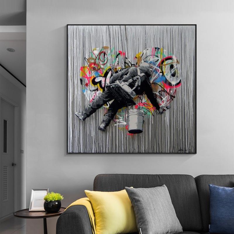 Картина на холсте с граффити, абстрактное уличное искусство, Постер, печать, настенные картины для гостиной, домашний декор