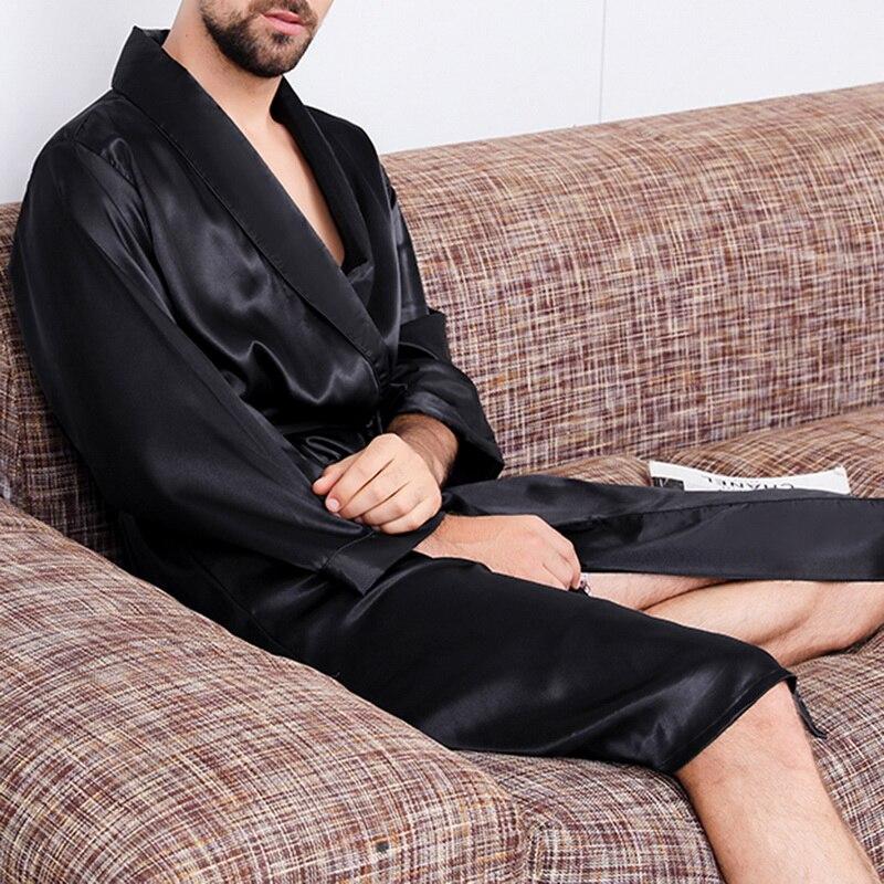 Мужская черная одежда для сна, шелковая ночная рубашка для мужчин, комфортные шелковистые банные халаты, благородный халат, мужские халаты ...
