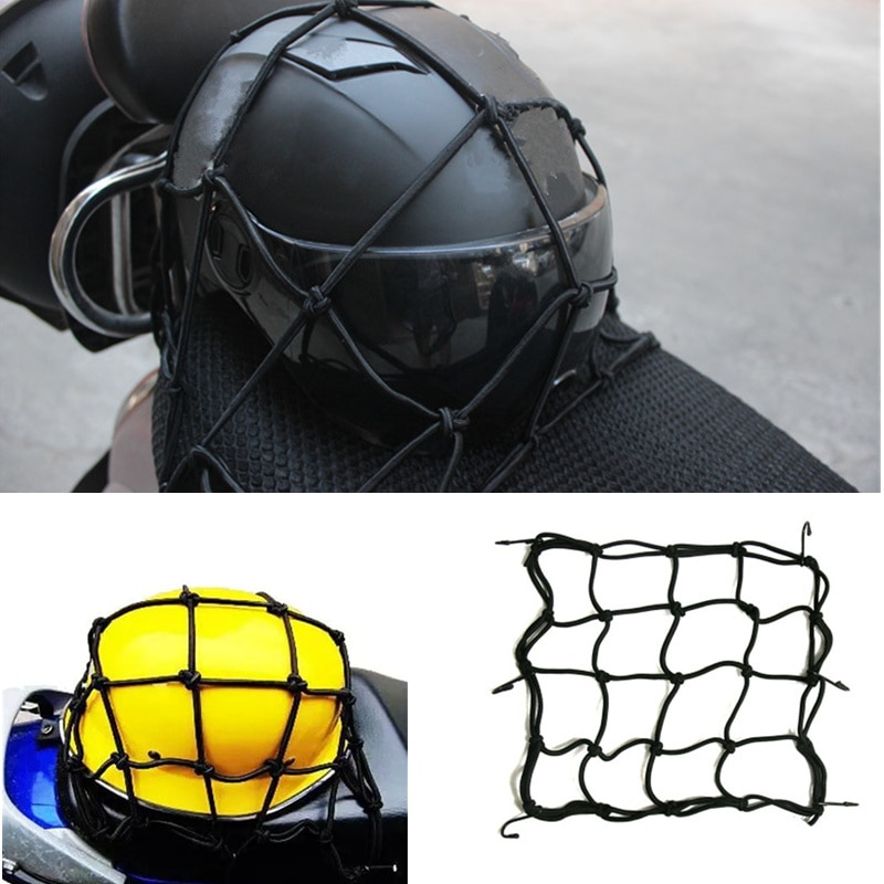 Universal 6 Hooks Motorcycle Luggage Net Black Helmet Storage Mesh Bags for Motorbike Stowing Tidying Supplies