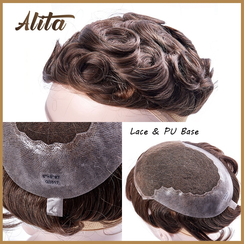 Men Toupee with Knot Q6 Lace PU Base Natural Hairline Replacement Systems Male Capillary Prothesis Black Simulate Hairpieces