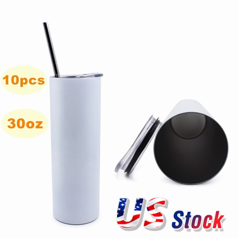 30oz Sublimation Blank White Skinny Tumbler Stainless Steel Insulated Water Bottle Double Wall Vacuum Travel Cup DIY Gift