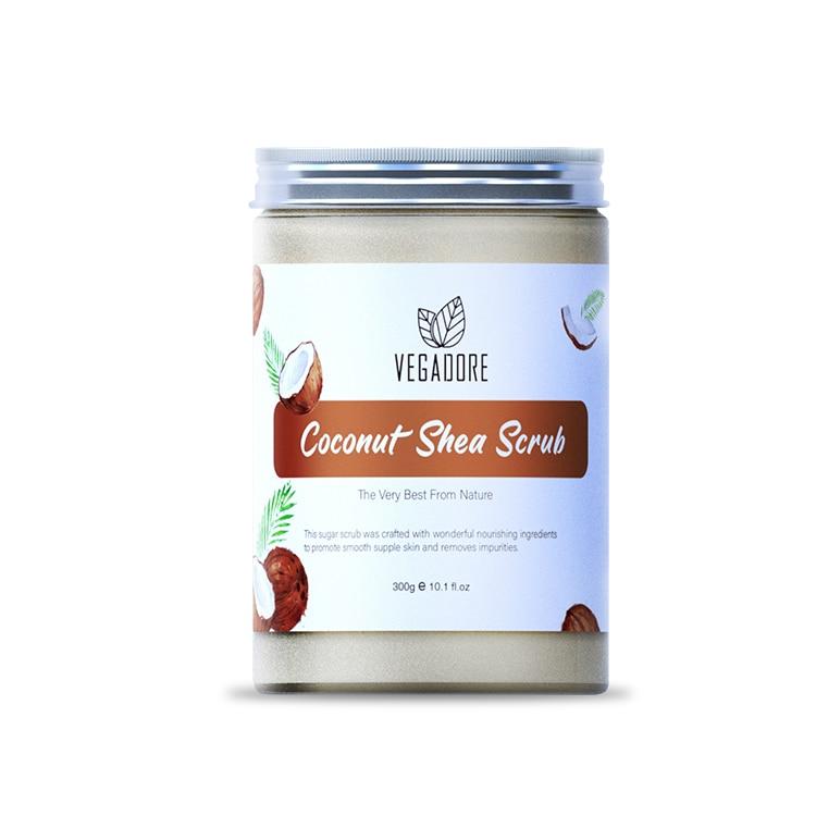 300ml Coconut Body Scrub Cream for Scrubber Exfoliating Scrub to Stay Body Wash Cleansing Whitening Cream & Shrink Pores.