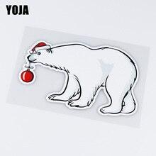 YOJA 13.9X8.6CM Cute Christmas Bear Window Door Decoration Car Sticker Accessories ZT4-1005