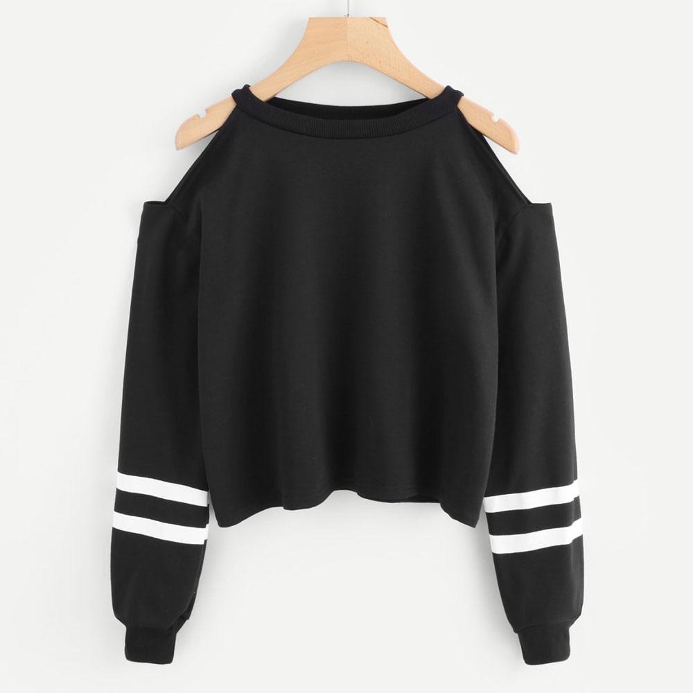 WomenSweatshirt Off Shoulder Streetwear  Long Sleeve Stripe Sweatshirts O Neck Pullover Casual Tops Female Clothes  Sudadera
