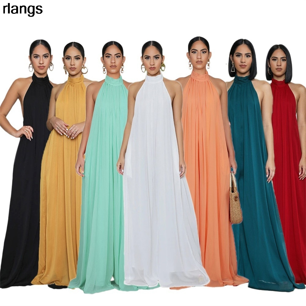 2021 New European And American Women's Casual Chiffon Halter Jumpsuit Sexy Loose Fashion Solid Color Trousers Women S-XL 2020 new women s jumpsuit european and american rompers fashion casual solid color plain zip mask jumpsuit
