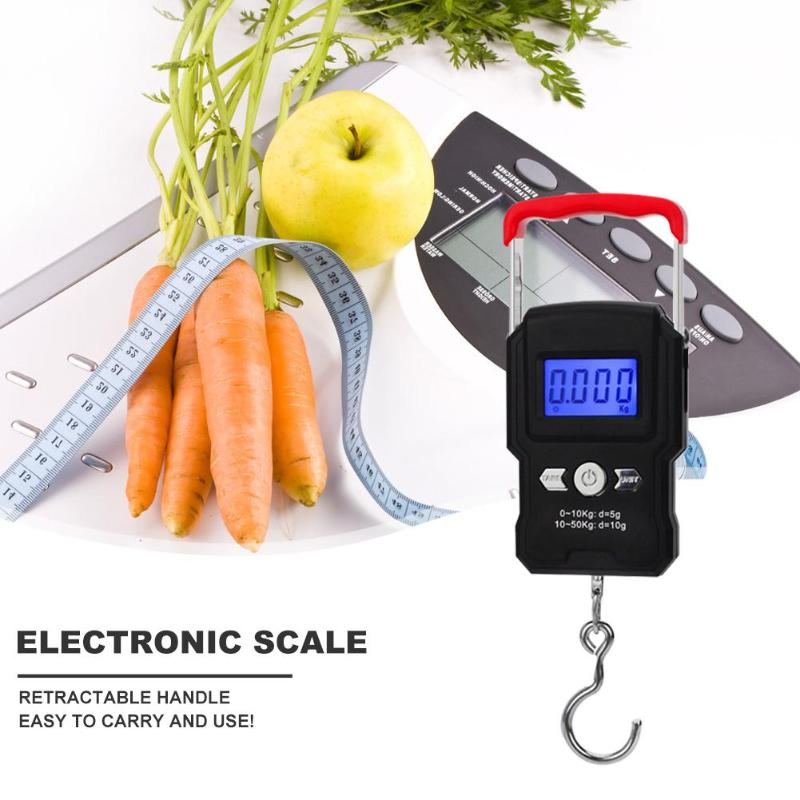 Mini 50kg Digital Fishing Scale LCD Display Weighting Electronic Scale Practical with Hook Necessary