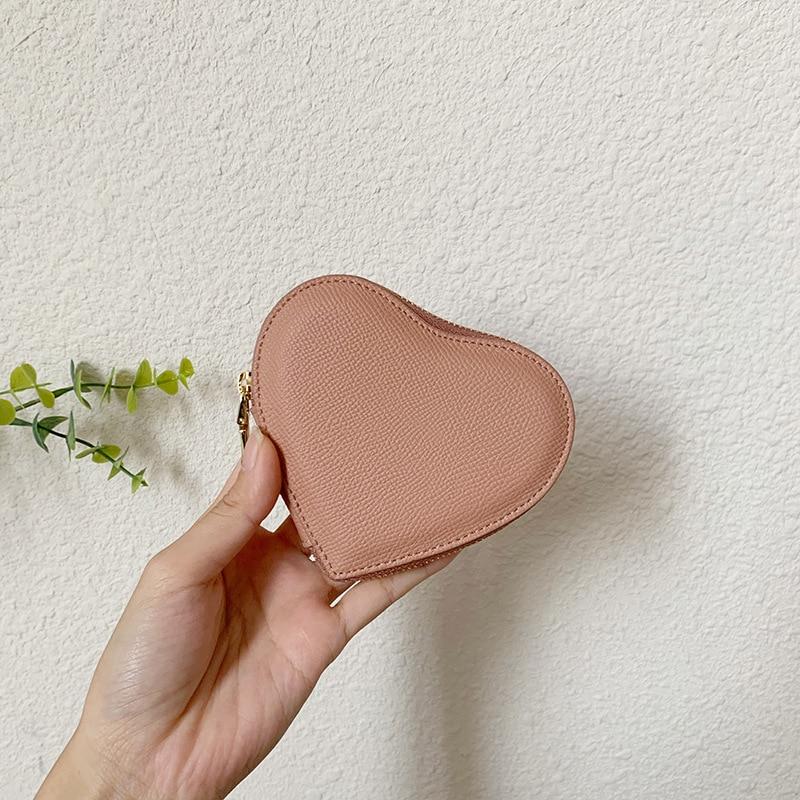 Key bag women's small and simple heart-shaped net red storage bag multi-functional mini card bag zipper coin bag short