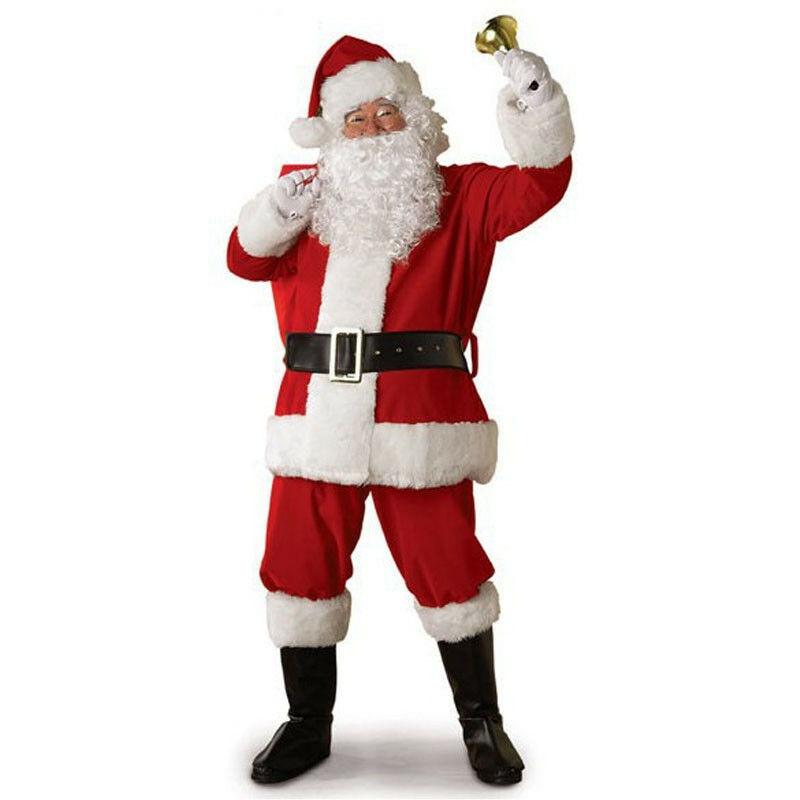 Rusia de Navidad de Santa Claus traje Cosplay Santa Claus de lujo vestido de Navidad para los hombres 5 unids/lote traje para adultos