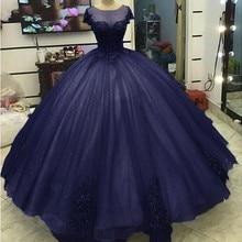 Angelsbridep Dark Blue Gown Quinceanera Dresses 2019 Sheer Neck Short Sleeves Sweet 16 Dresses Tulle Appliques Vestido 15 Anos