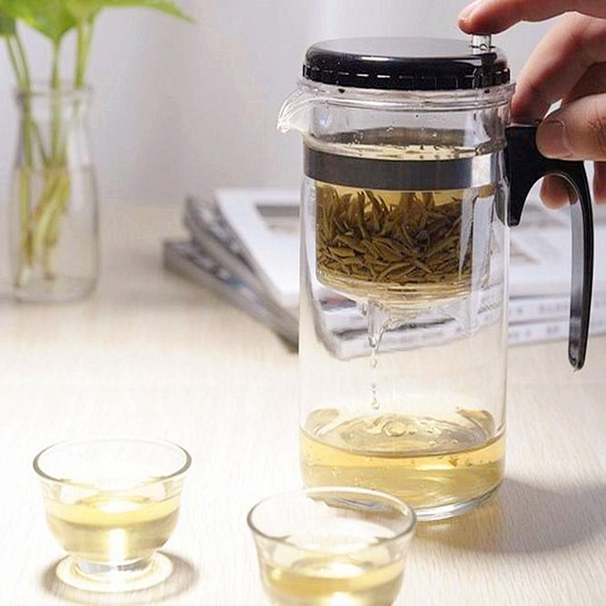 Capacidad de 500ml tetera de vidrio recto prensa arte Kung Fu té taza de tetera con Infusor de filtro