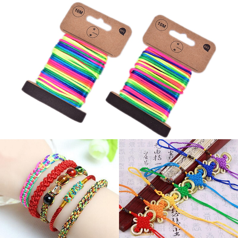2017 0 8mm 100m spool macrame rope satin rattail nylon cords string kumihimo chinese knot cord diy bracelet jewelry findings 10M 2.5mm Multicolor Thread Cord Braided Bracelet String Knitting Yarn Rope Chinese Knot Cord Nylon Cord Macrame Rattail