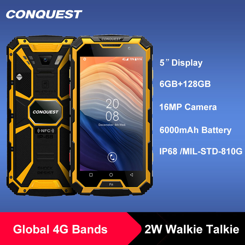 CONQUEST S8 IP68 rugged smart phone 6GB 12GB Android 7.1 Octa Core waterproof mobile phone NFC/IR/SOS/OTG/FM/Walkie talkie phone