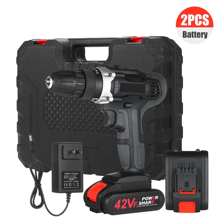 Broca sem Fio Velocidade sem Escova sem Fio Elétrica sem Fio com Baterias Dirve Furadeira Carregador Rápido Kit 2