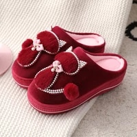 winter cotton slippers female high heeled thick soled home non slip home furry slippers fashion all match confinement shoes