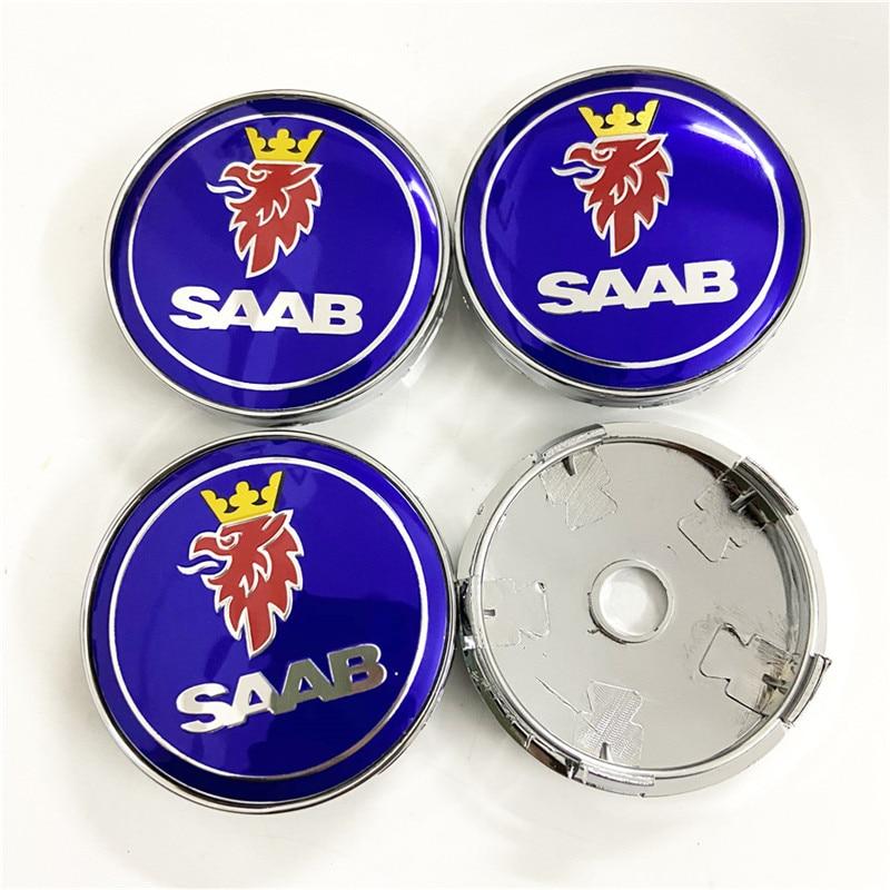 4x60mm azul para Saab coche modificado Universal tapas de centro de cubo de rueda tapacubos Auto Accesorios