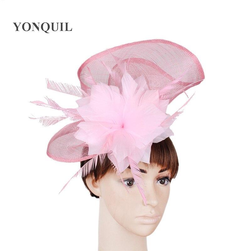 Sinamay, sombrero tocado de pelo rosa para boda, diadema formal, sombrero de fieltro, accesorios para el pelo con flores, diadema, tocado para carreras