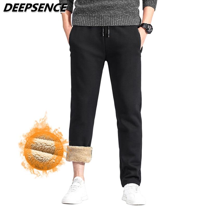 2021 Men Sweatpants Autumn Winter Thick Warm Fleece Pants For Men Cotton Casual Outdoor Windproof Co