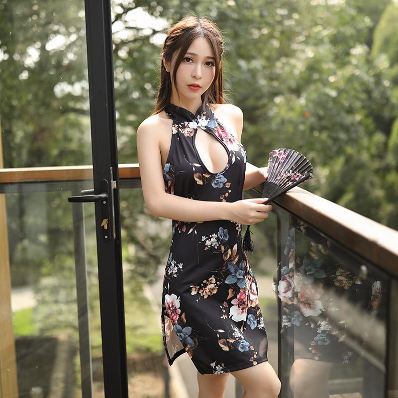Lencería Sexy sin espalda cheongsam mujer uniforme de secretaria Lencería erótica pareja juego sexual cosplay Secretaria sexy kimono nightclub