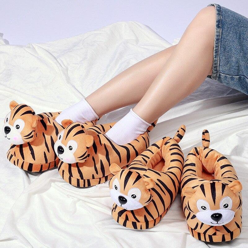 الفتيات جميل الحيوان النمر النعال الشتاء غرفة نوم رقيق الشرائح الإناث مضحك أفخم الأحذية للنساء شبشب منزل