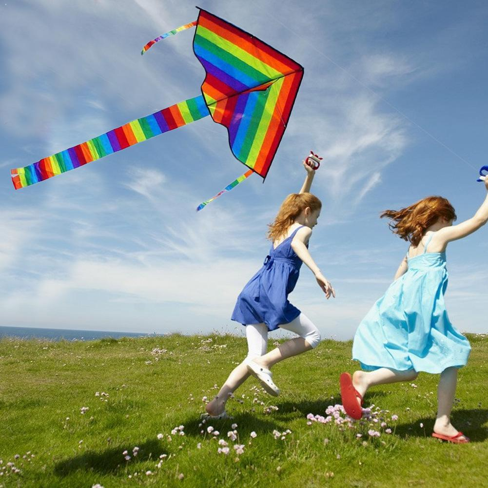 Large Colorful Rainbow Kite Long Tail Nylon Outdoor 30m Surf Kids Toys Flying Kid With Kite Kites Ou