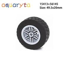 Aquaryta 4 pièces Technic pièces 15413 + 56145 49.5x20mm pneu roue jouets éducatifs voiture en vrac Compatible avec toutes les marques mécaniques