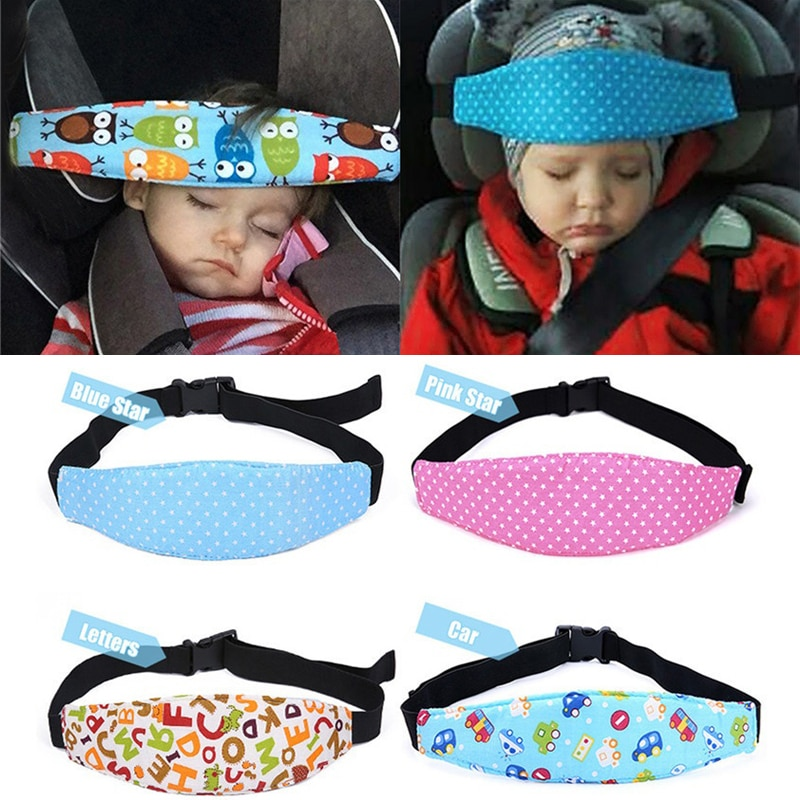 Colorful Subject Head Child Car Adjustable Safety Seat Sleep Positioner Head Support Pram Stroller F