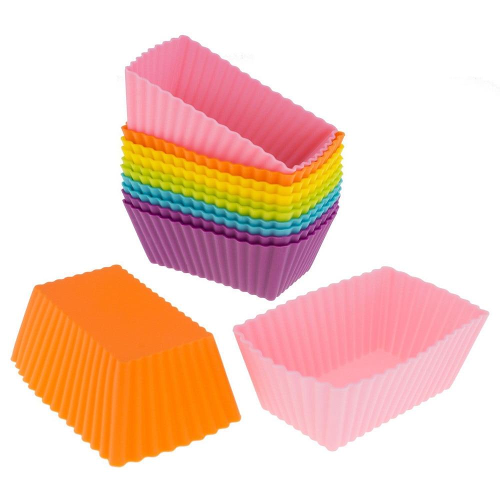 2PC Farbe Zufällig Silikon Geschichteten Kuchen Form Runde Form Rechteckige Silikon Brot Pan Toast Brot Mold Kuchen Tray Mould n20      -