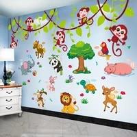 elephant lion panda tree wall stickers diy monkeys animal tree mural decor decals for kids bedroom children bedroom decoration
