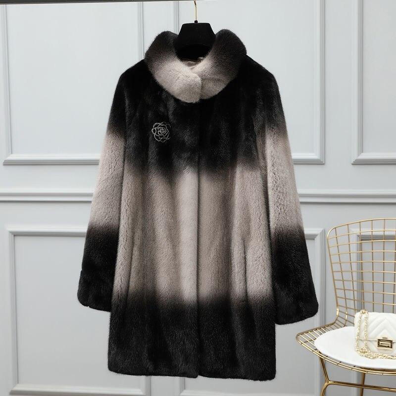 Aulande2020 جديد فرو منك معطف الفرو متوسطة طويلة معطف الفرو الحقيقي معطف الشتاء في الهواء الطلق الوقوف طوق نمط أمي